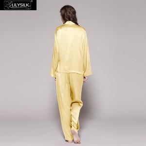 Image 3 - LilySilk 100 Silk Pajama Set Sleep Lounge Pyjamas Natural Skin Care Women 22 Momme Long Sleeve Sleepwear Free Shipping