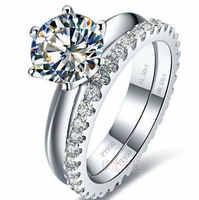 TRS03 Weiß Gold farbe 0,6-3 carat sona Simulierte Edelstein hochzeit ring sets für frauen, 925 silber ring farbe sets, versprechen ring set