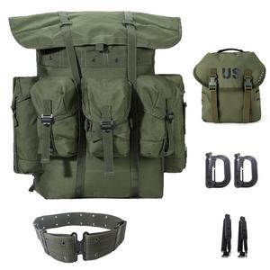 Mochila De exceso militar Alice Pack, mochila de campo de combate de supervivencia del ejército con marco y tope Alice Pack, cinturón táctico Oliva Drab