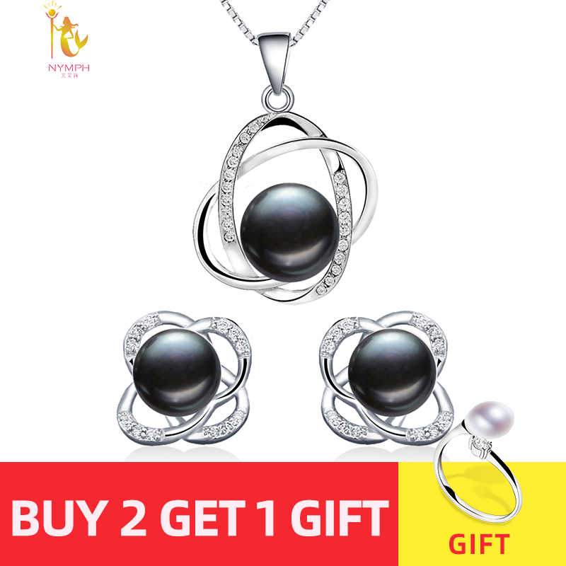NYMPH Pearl Jewelry Sets Natural FreshWater Pearl Necklace Pendant Earrings Fine Trendy Wedding Party Gift Women RoseT202-H