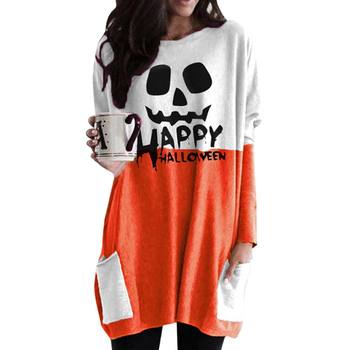 Halloween Style New Women's Loose Dress With Big Pocket Casual Print Long Sleeve O Neck Party Straight Vestidos Spring Autumn 2019 spring new women half sleeve loose flavour black dress long summer vestido korean fashion outfit o neck big sale costume