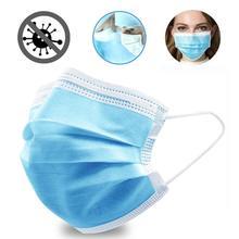 Masque médical blanc 3 plis, protection faciale jetable bleus, Anti poussière, boucles auriculaires élastiques non tissées