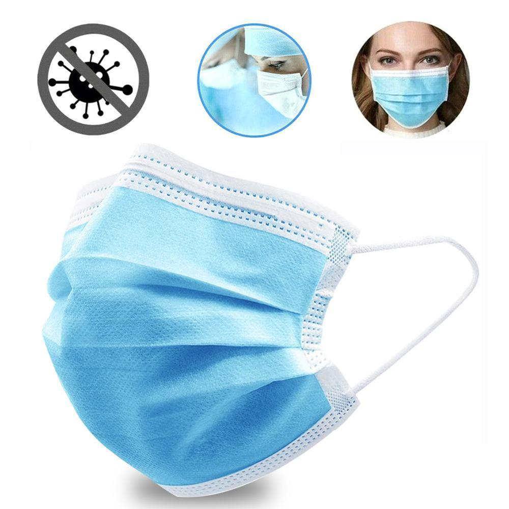 White Medical Mask Surgical Mask 3-Ply Anti-Dust Nonwoven Elastic Earloop Mouth Face Disposable Masks Blue