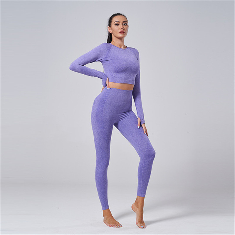 2 Piece Set Women Workout Clothing Gym Yoga Set Fitness Sportswear Crop Top Sports Bra Seamless Leggings Active Wear Outfit Suit 3