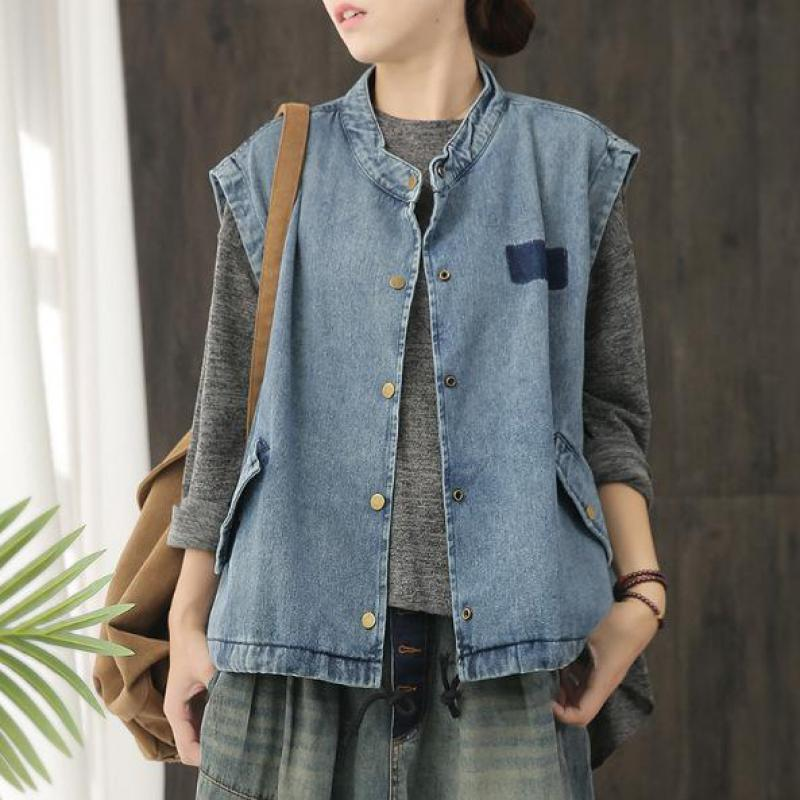 Autumn Vest Women Loose Vintage Single-Breasted Casual New O-Neck Solid Open-Stitch