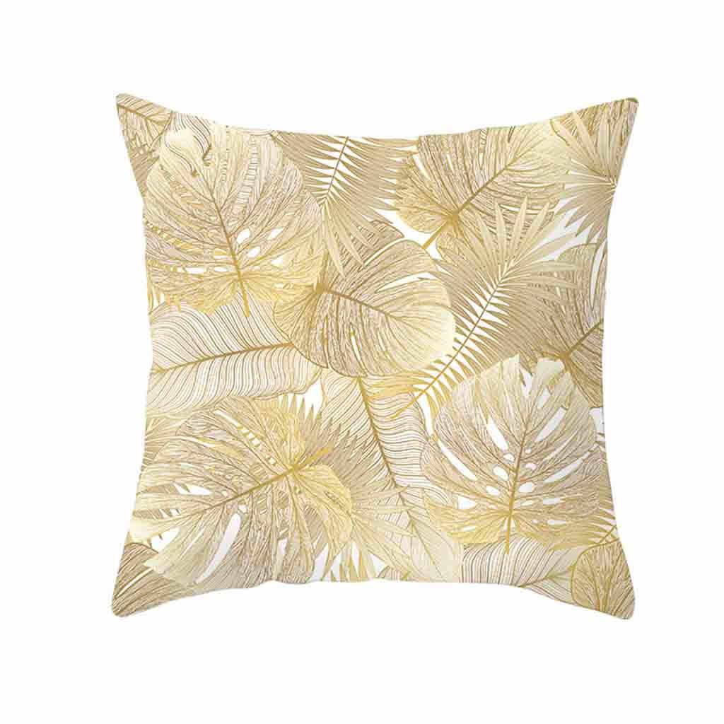 כרית מקרה זהב צמח מודפס פוליאסטר כרית מקרה כיסוי ספה מיטת עיצוב הבית מותניים לזרוק כרית כיסוי עיצוב בית