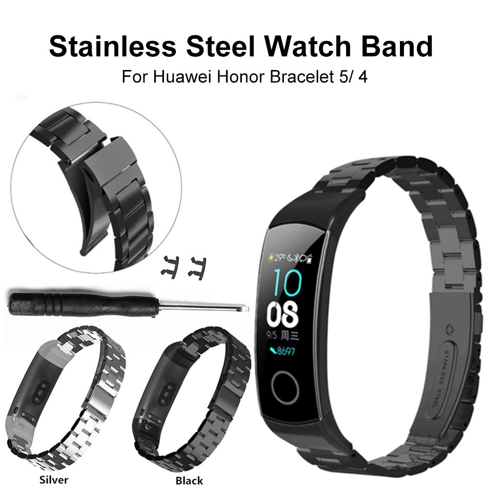 Stainless Steel Metal Wrist Strap For Huawei Honor Band 5 4 Smart Sport Bracelet Strap For Huawei Honor Band 5 Band4 Standard|Smart Accessories| |  -