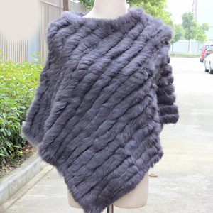 Image 2 - Women Genuine Real fur shawl Knitted Rabbit Fur Poncho Wrap scarves female natural rabbit fur Shawl triangle Cape pashmina
