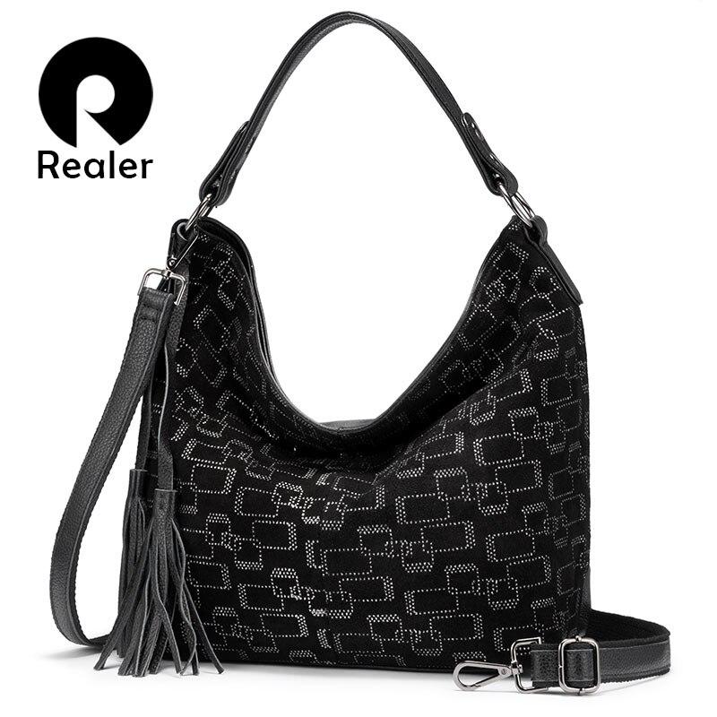 REALER Female Handbag Genuine Leather Large Tote Bag For Women Classic Hobo Luxury Ladies Shoulder Bags With Tassel 2019