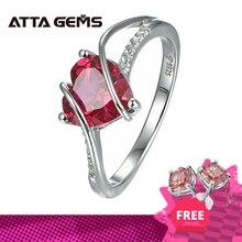 Heart Shapeทับทิม925แหวนเงินแท้2.5กะรัตผู้หญิงรักแหวนสำหรับงานแต่งงานและหมั้นของขวัญโรแมนติก