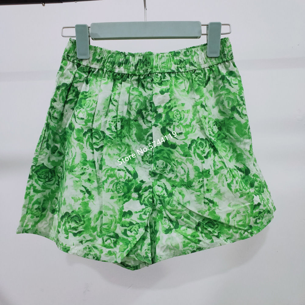 High Waist Floral Printed Women Shirt Cotton Breathable Comfortable Elastic Waist Casual Wild Female Shorts