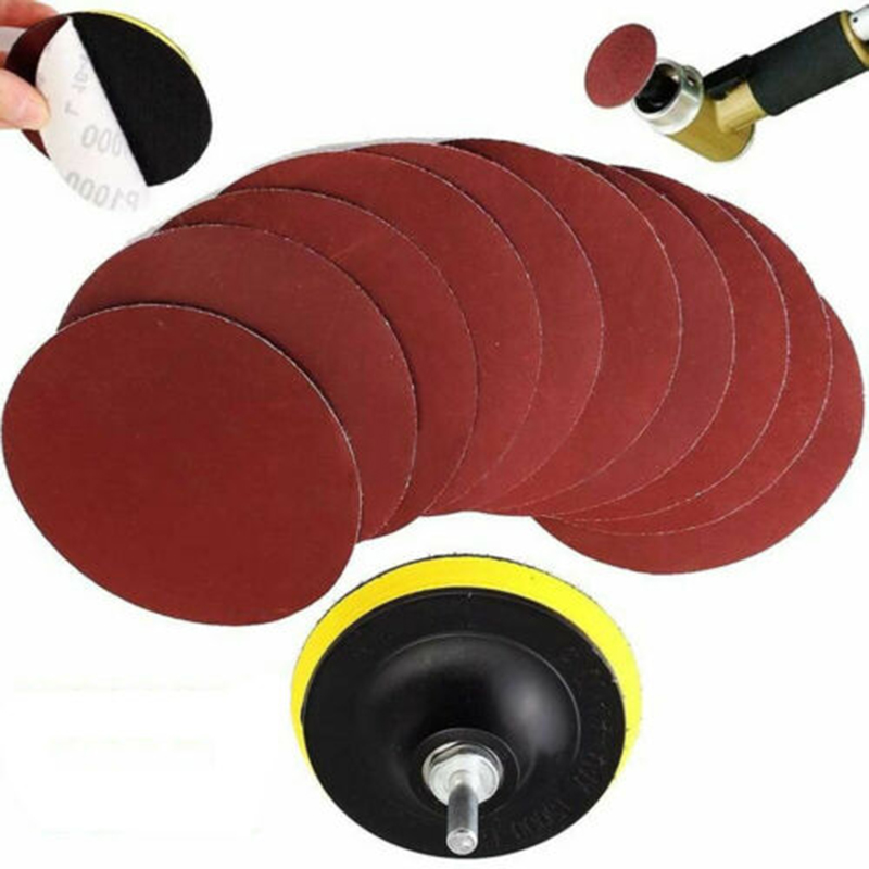 4 Inch 10pcs Hook And Loop 1000 Grit Sand Paper Sanding Discs With Drill Adapter