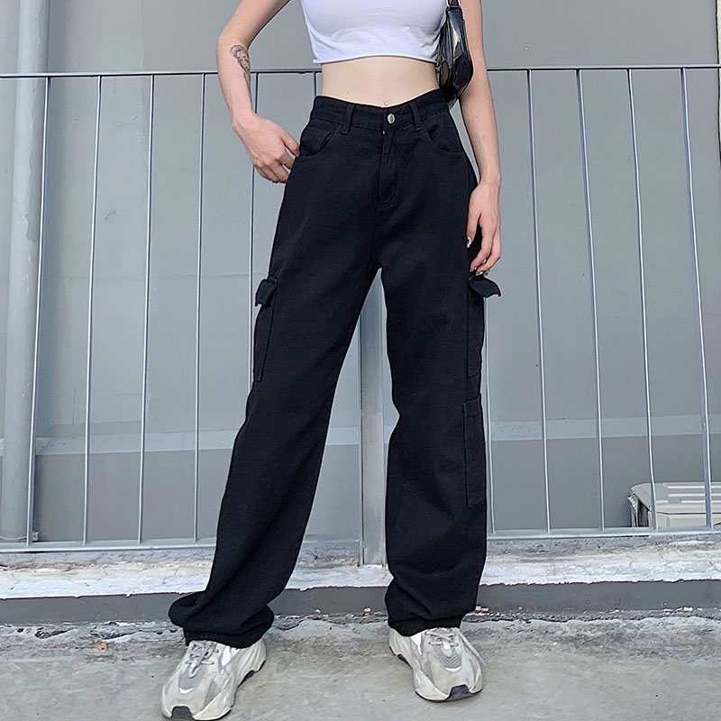 Weekeep Fashion Pocket White Women's Jeans Streetwear High Waist Jeans Vintage Straight Harajuku 2020 Denim Pants Cargo Pants 4