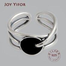 Ellipse – bague en argent sterling 925 pour femmes, redimensionnable, en zircon noir, fait à la main, bijoux fins, accessoires, 925