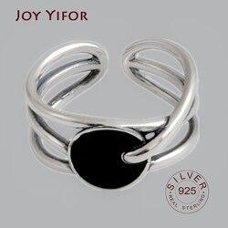 Ellipse 925 sterling silver rings for women resizable handmade black zircon bague femme argent 925 accesorios fine jewelry