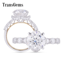 Transgems 14K White and Yellow Gold Center 5ct 11mm F color Moissanite Engagement Ring For Women Anniversary U Shape
