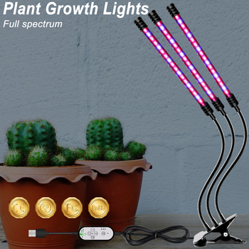 BiaRiTi Phyto Light LED Smart Timing Clip Plant Lamp USB Full Spectrum Flower Seed Grow 9W 18W 27W Hydroponics Lampe