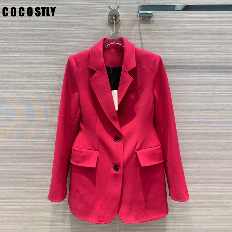 Fashion Brand Jacket Suit For Women Blazer Long Sleeve Lapel Collar Pocket Slim Female Casual Coat Office Lady Jacket Suit