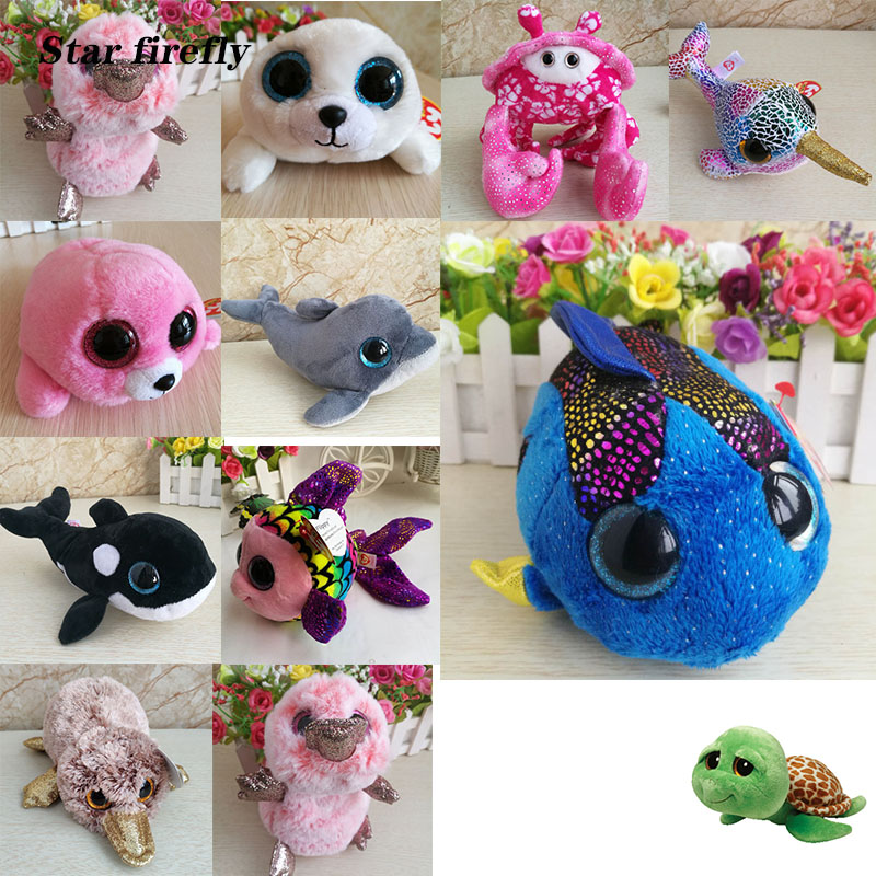 15cm cute <font><b>plush</b></font> toy Marine animal <font><b>killer</b></font> Stuffed <font><b>whale</b></font> dolphin seal color fish goldfish crab platypus toy Stuffed <font><b>plush</b></font> kid gift image
