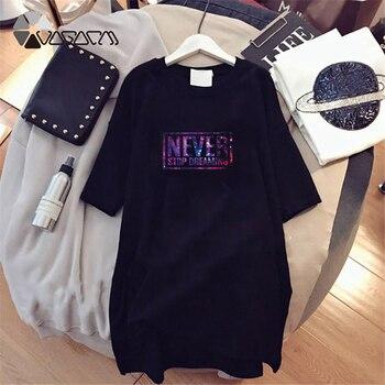 Women Dresses NEVER Series Letter Plus Size Black Mini Dress Loose Summer Long T Shirt Casual Clothes Femme Tops White Sukienka 46