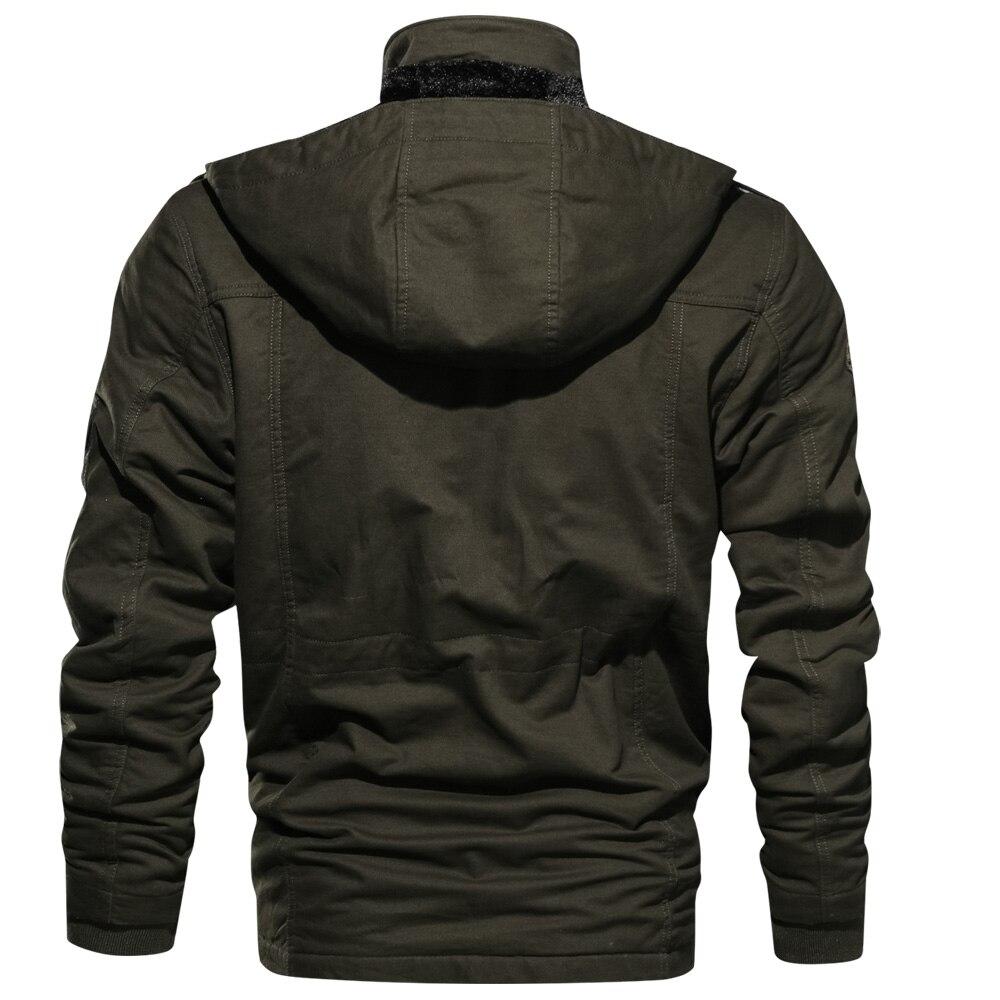 Image 2 - Мужская куртка бомбер, мужская куртка парка, зимняя флисовая  Повседневная стеганая куртка с несколькими карманами, Прямая  поставкаПарки
