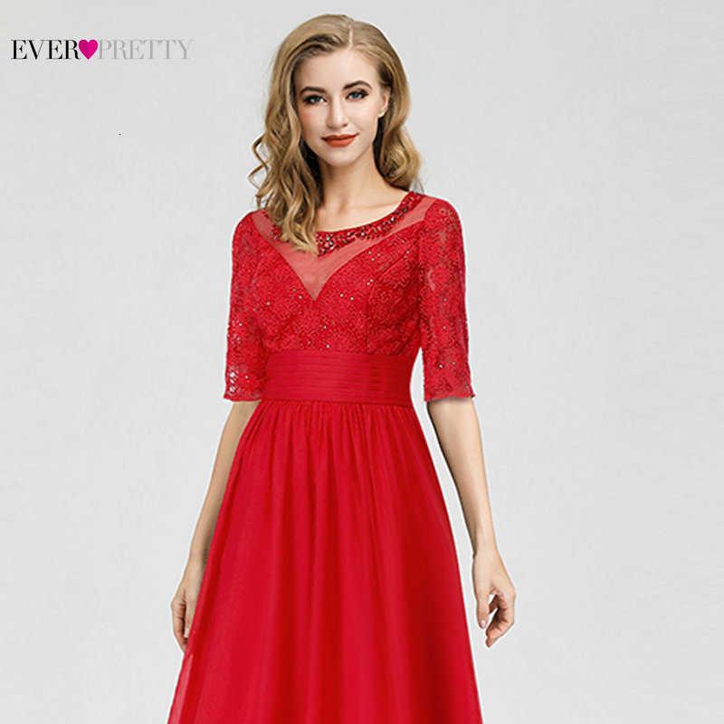 Mai Abbastanza Vintage Red Abiti da Sera Lungo Una Linea di O-Collo in Rilievo Mezza Manica Elegante Convenzionale Chiffon Abiti Del Partito Robe De Soiree