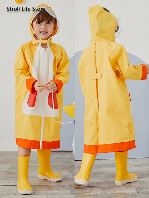Cute Children Long Rain Coat Jacket Waterproof Suit Storm Thickened Yellow Kids Raincoat Bag Bit Rain Poncho Capa De Chuva Gift