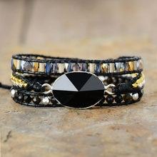 Schwarz Wrap Armbänder W/Natürliche Stein Pyramide Onyx Kristalle Perlen Triple Erklärung Vegan Armband Bijoux Böhmischen Schmuck
