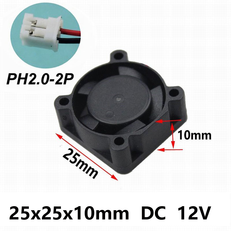 Купить с кэшбэком 10PCS Gdstime 12V 2Pin 25MM 25 x 25 x 10mm 2510 DC Axial 12 volt Cooler Fan