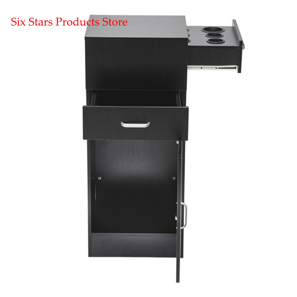 Beauty Cabinet Shelf 2 Drawers 1 Door 6 Hairdryers Black  Salon Shelf