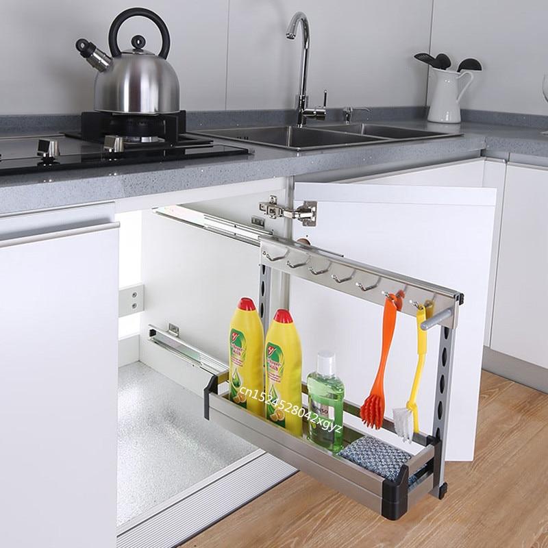 Kitchen Organizer Sponge Holder Built-in Dish Rack Stainless Steel Silent Rail Kitchen Storage Porta Esponja Cocina Hide Style