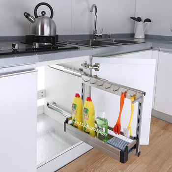 Kitchen Organizer Sponge Holder Built-in Dish Rack Stainless Steel Silent Rail Kitchen Storage Porta Esponja Cocina Hide Style