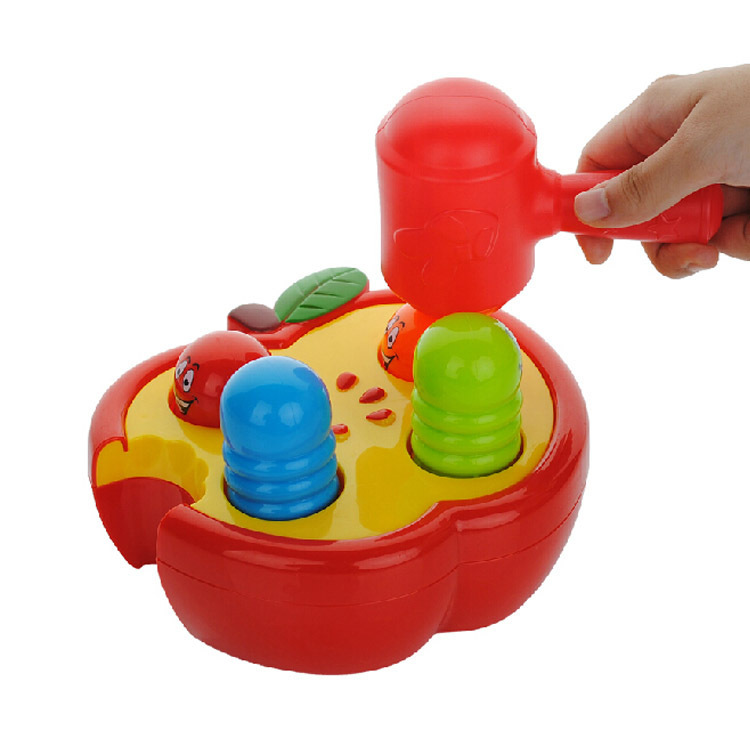 Ylh166-1 Fruit Worm Pound Apple Play Music Infants Educational Toy Exercise Hand-Eye Coordination