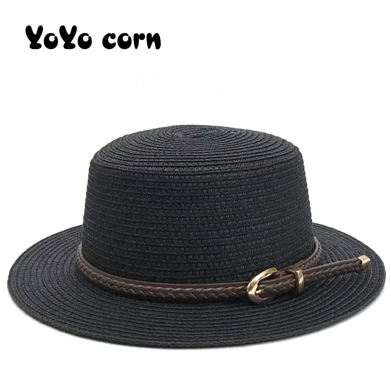 YOYOCORN Stylish Ladies Shade Black Belt Solid Colors Bonnet Hats Fashion Women Men Sun Hat For Summer Caps Casual Straw Cap
