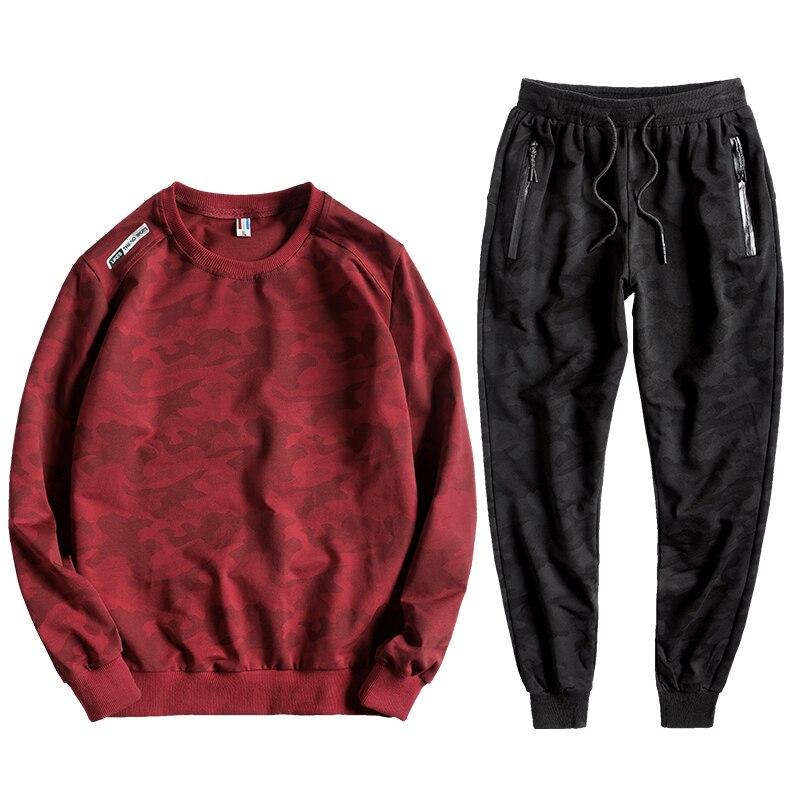 2019 Oversized 8XL 9XL 10XL Tracksuit Men Casual Camouflage Mens Sports Suits Plus Size L-10XL Cotton Sweat Suits Men