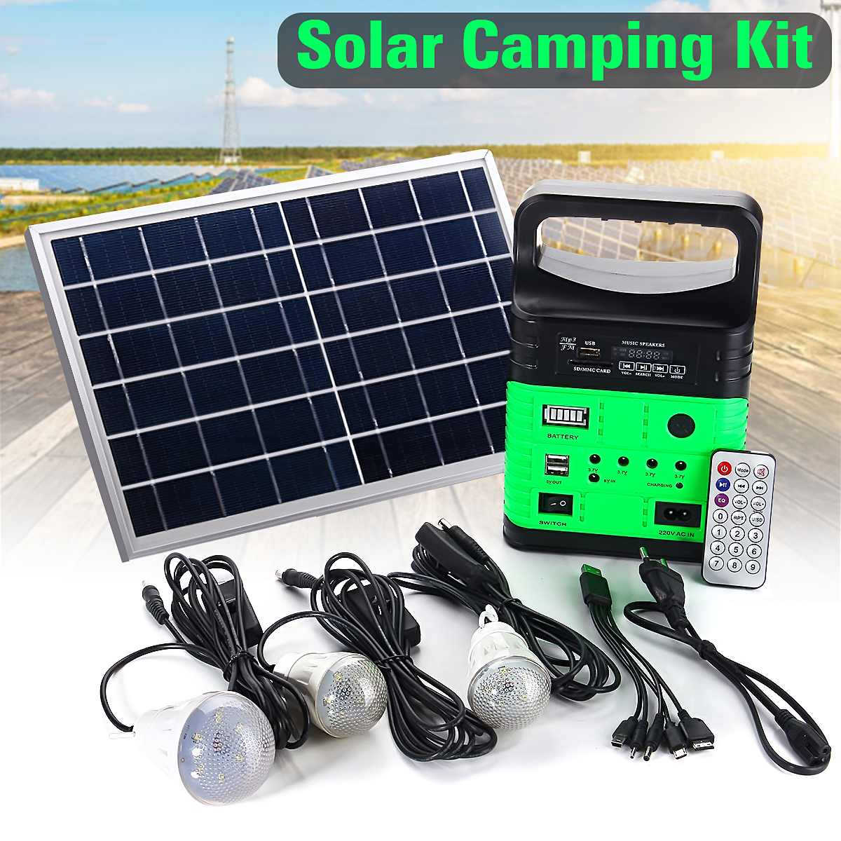 Smuxi Portable Solar Generator Outdoor Power Mini DC6W Solar Panel 6V-9Ah Lead-acid Battery Charging LED Lighting System