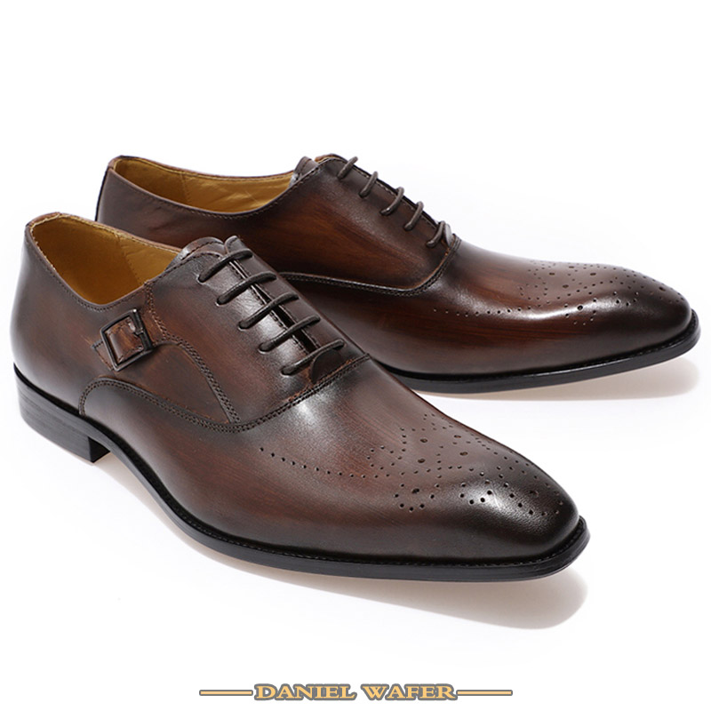 Luxury Brand Men Leather Shoes Genuine Leather Oxford Formal Shoes Men Dress Office Brown Black Lace up Buckle Strap Shoes Male 3