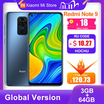 Global Version Xiaomi Redmi Note 9 3GB 64GB Smartphone 48MP Quad Cameras 6.53