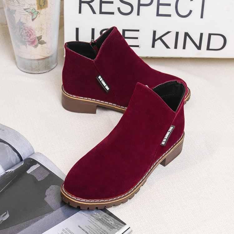 MỚI 4 màu sắc Nữ Giày Bốt Martin Thu Đông Giày Cổ Điển Dây Kéo Tuyết Mắt Cá Chân Giày Mùa Đông Da Lộn Ấm Lông Thú Sang Trọng Nữ giày 35-42