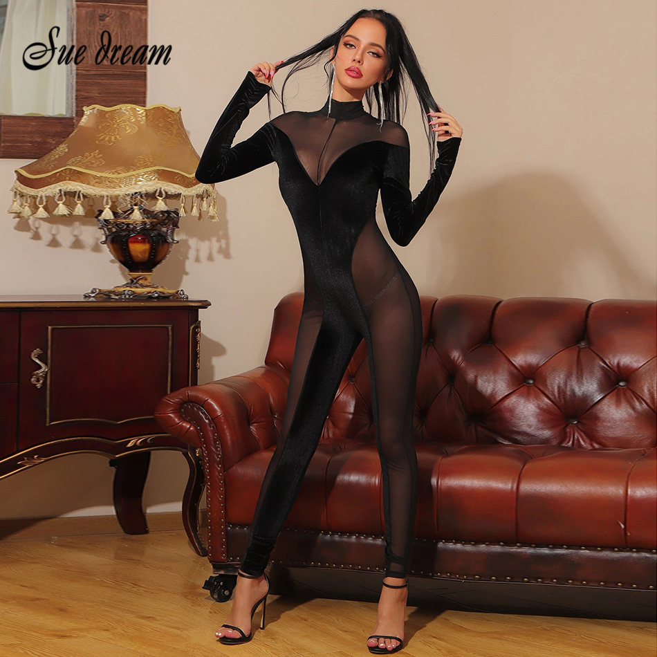 2021 New Spring Women's Sexy Black Velvet Patchwork Long-sleeved Jumpsuit Fashion Nightclub Party Mesh See-through Jumpsuit