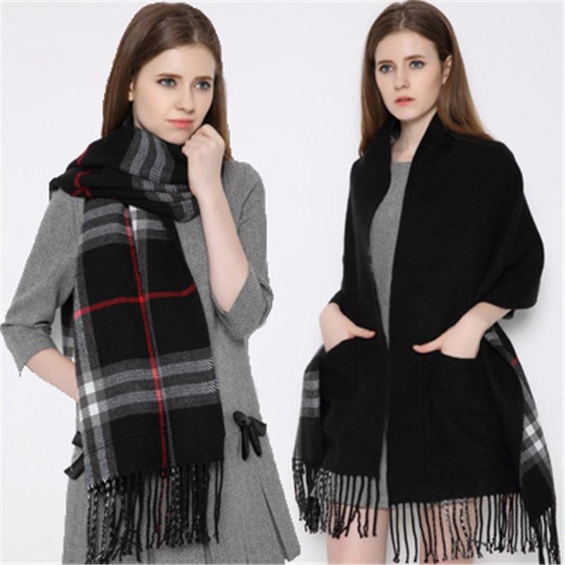 2019 Trendy Cashmere Plaid Scarf With Pocket Women Warm Winter Scarves Shawls Blanket Scarf Bufandas Invierno Mujer Foulard