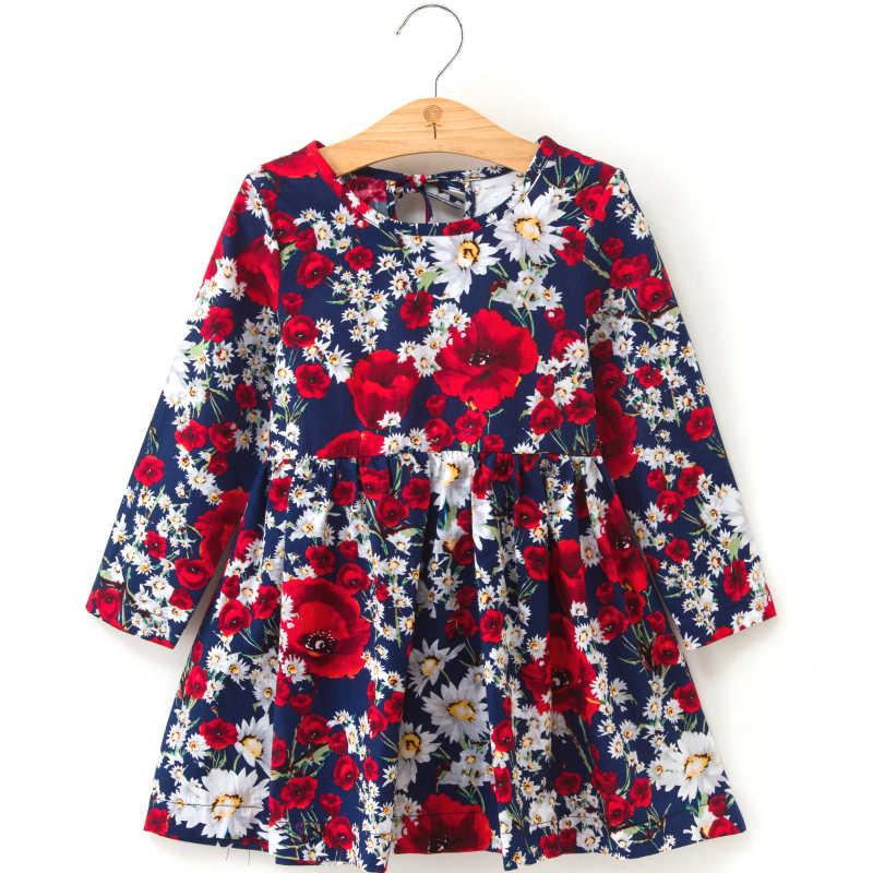 夏の女の子のドレスキッズ子供ドレス女の子長袖チェック柄ドレスソフト綿夏の王女の服