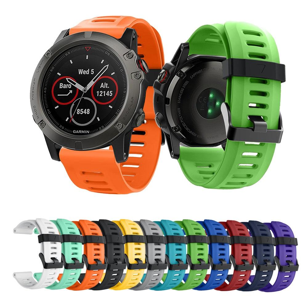 Colorful 26mm  Sport Silicone Wrist Strap Watchband Replacement For Garmin Fenix 3 HR/fenix 5X Watch Band New