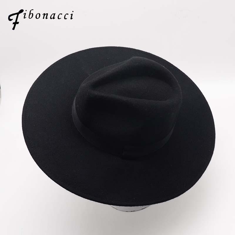 Fibonacci 10cm Large Brim Black Fedora Fashion Men Jazz Hat Autumn Winter Trilby Wool Felt Hats For Women Jewish Hat