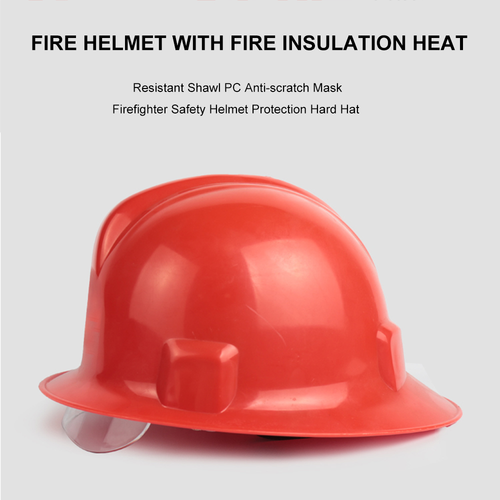 Protection Hard Hat Fire Helmet With Fire Insulation Heat Resistant Shawl PC Anti-scratch Mask Firefighter Safety Helmet