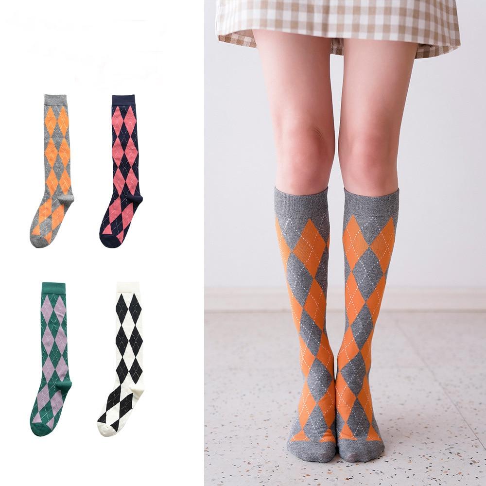 Women Autumn Winter Casual Tube Socks Plaid Cotton Pile Socks Ladies Stockings