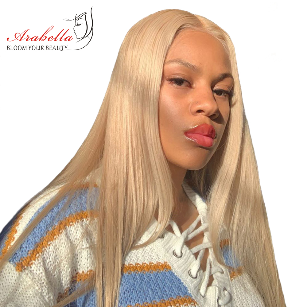 Blonde Lace Front Wig With Baby Hair 100% Human Hair Wigs With Baby Hair Malaysian Remy 13*4 Straight Wig 613 Lace Front Wig image