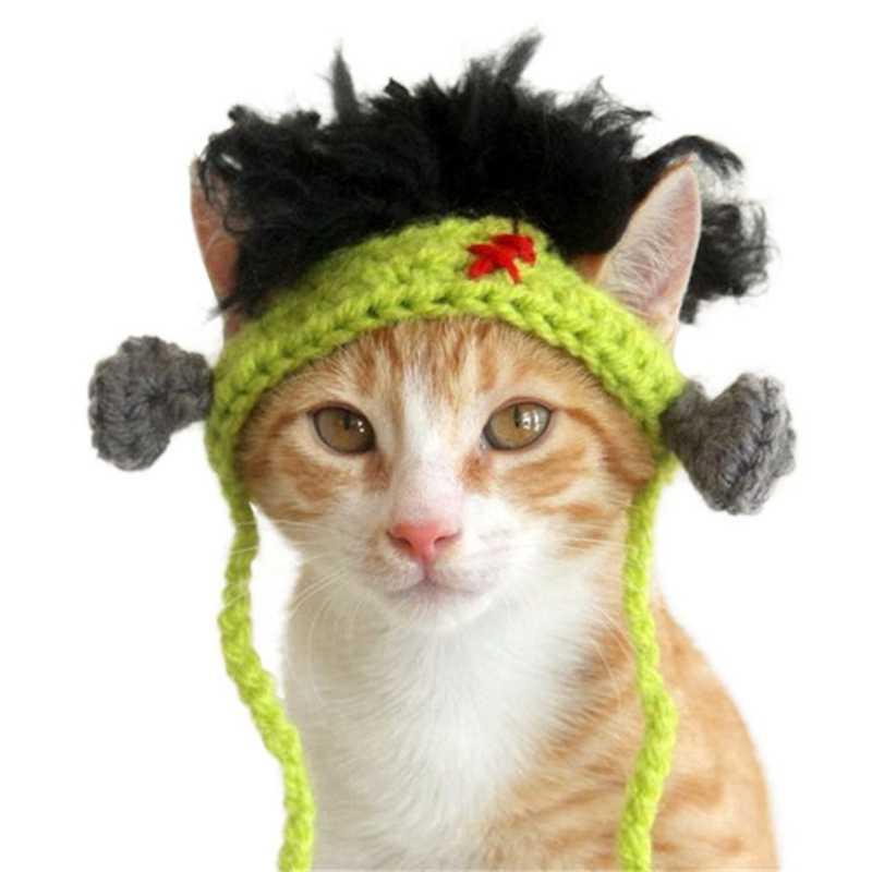 Gorros de invierno para mascotas, gatos, mascotas, Halloween, decoración, gorro verde tejidos a mano, sombreros para mascotas, accesorios para el cabello para pequeñas los perros