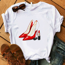 Red High Heel T Shirt Lady Luxury Make Up Paris Style T-