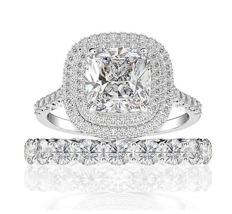 Classique bijoux de luxe Couple anneaux 2 pièces 925 en argent Sterling coussin forme blanc 5A cubique Zircon femmes mariage ensemble d'anneaux de mariée